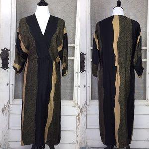 Vintage 100% SilkBlack and Tan Midi Dress sz. 12